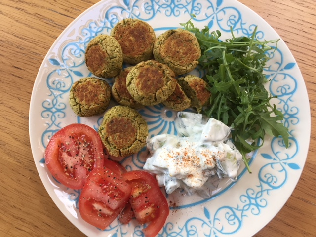 Easy Peasy Falafel Salad with a Cucumber and Dill Dip
